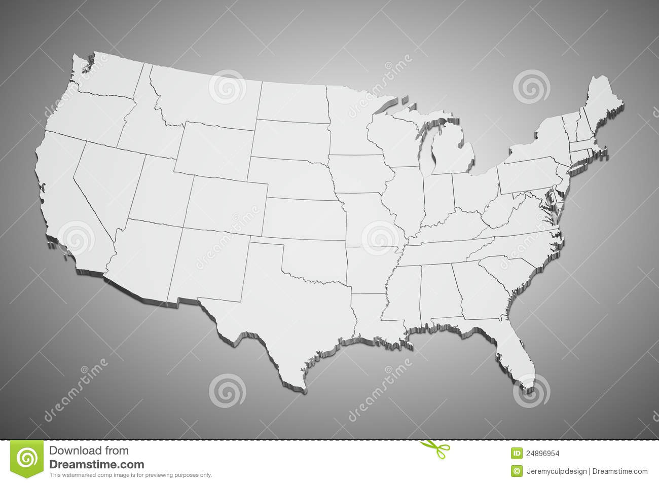 United States Map On Gray Stock Images Image - Map of united states states only