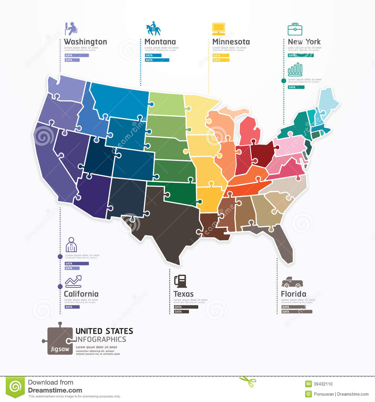 United States Map Infographic Template Jigsaw Concept Banner - Usa map states