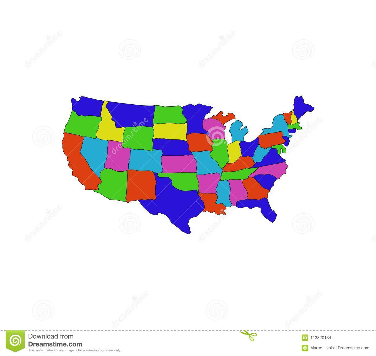 United States Map With Regions Stock Illustration - Illustration of ...