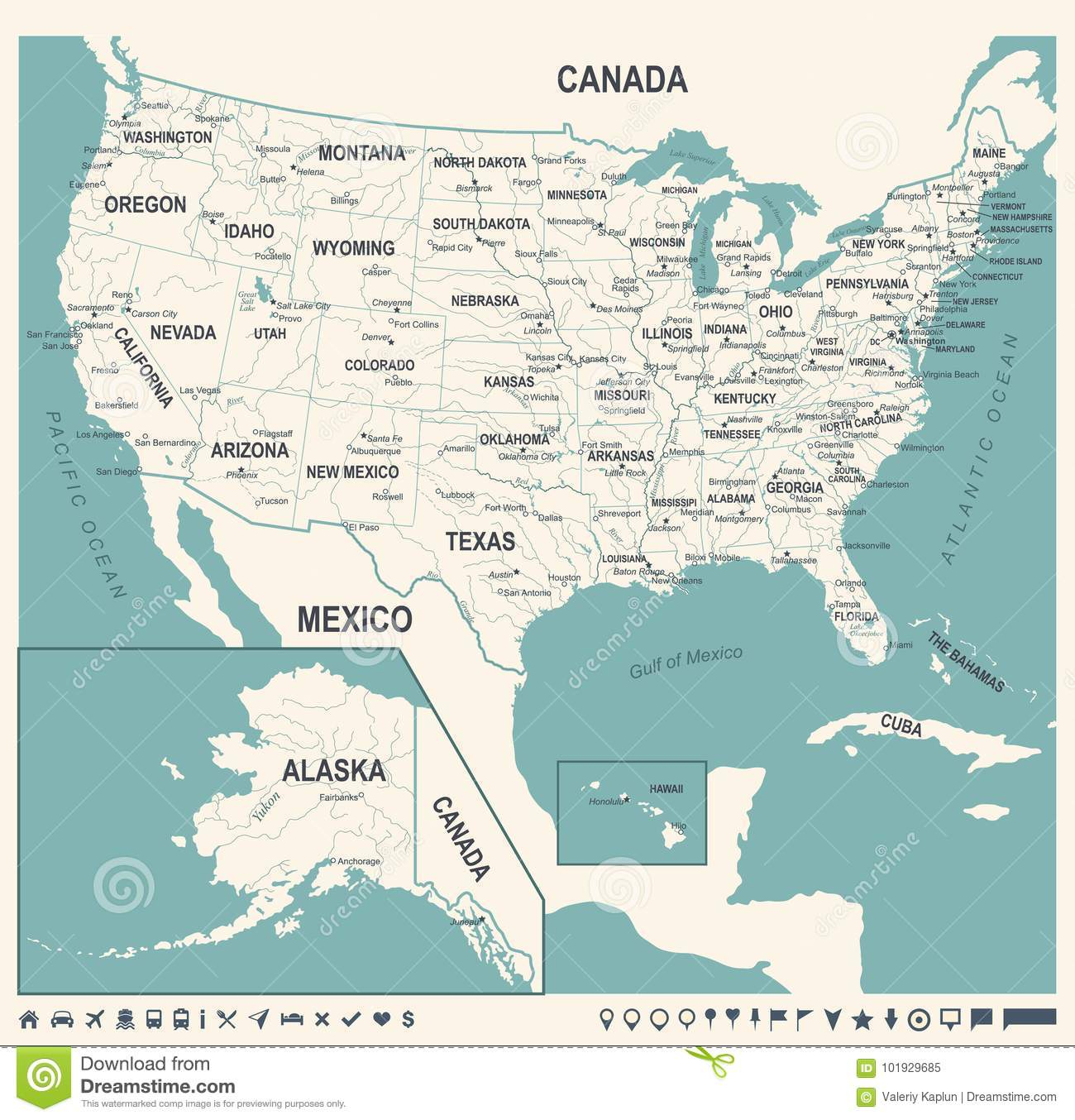 United States Map Vintage Vector Illustration Stock Illustration - Chicago-on-the-us-map
