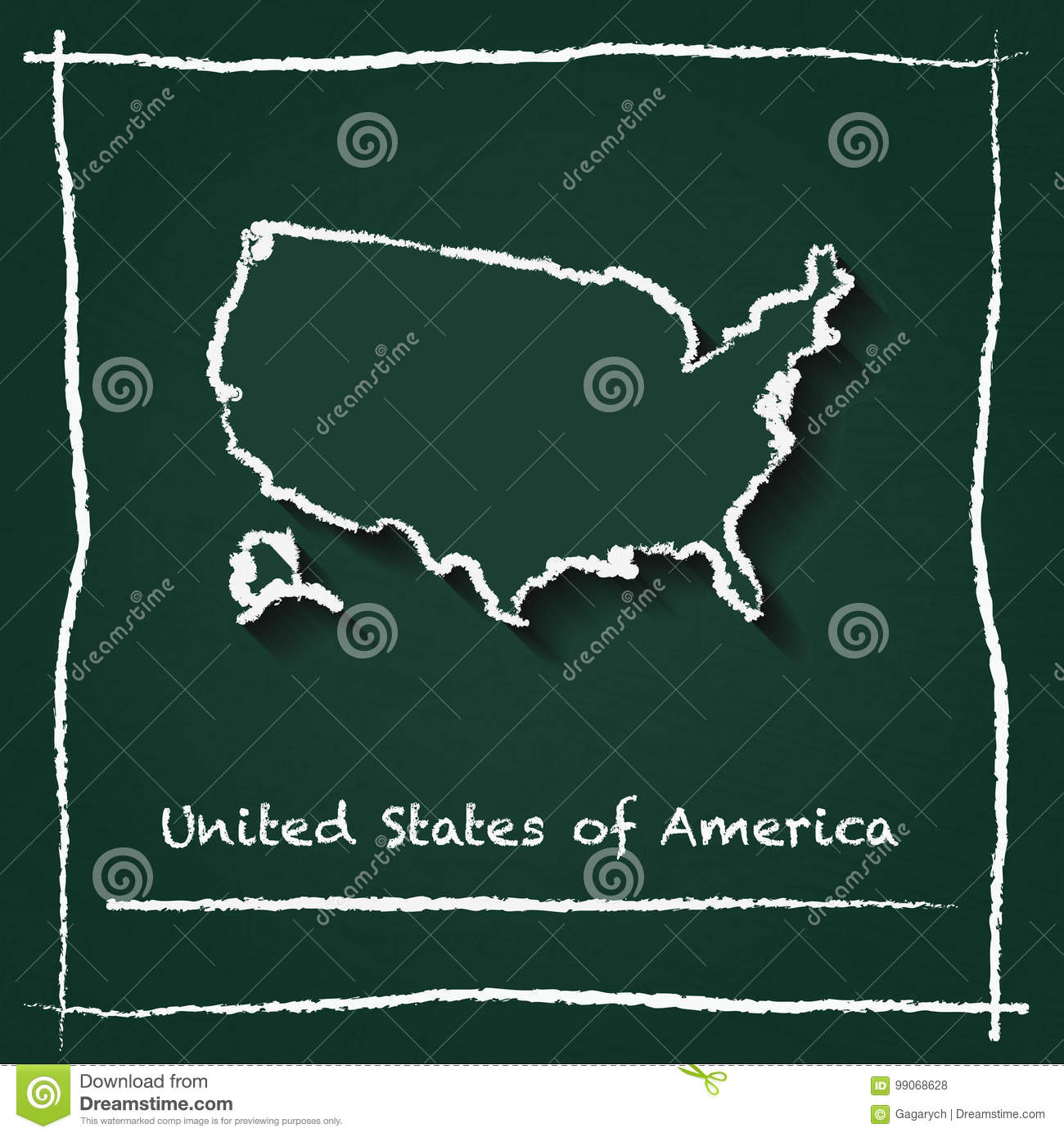 United States Outline Vector Map Hand Drawn With. Stock Vector ...