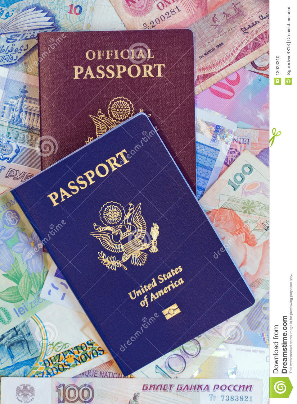 United States Personal And Official Passports Stock Photo