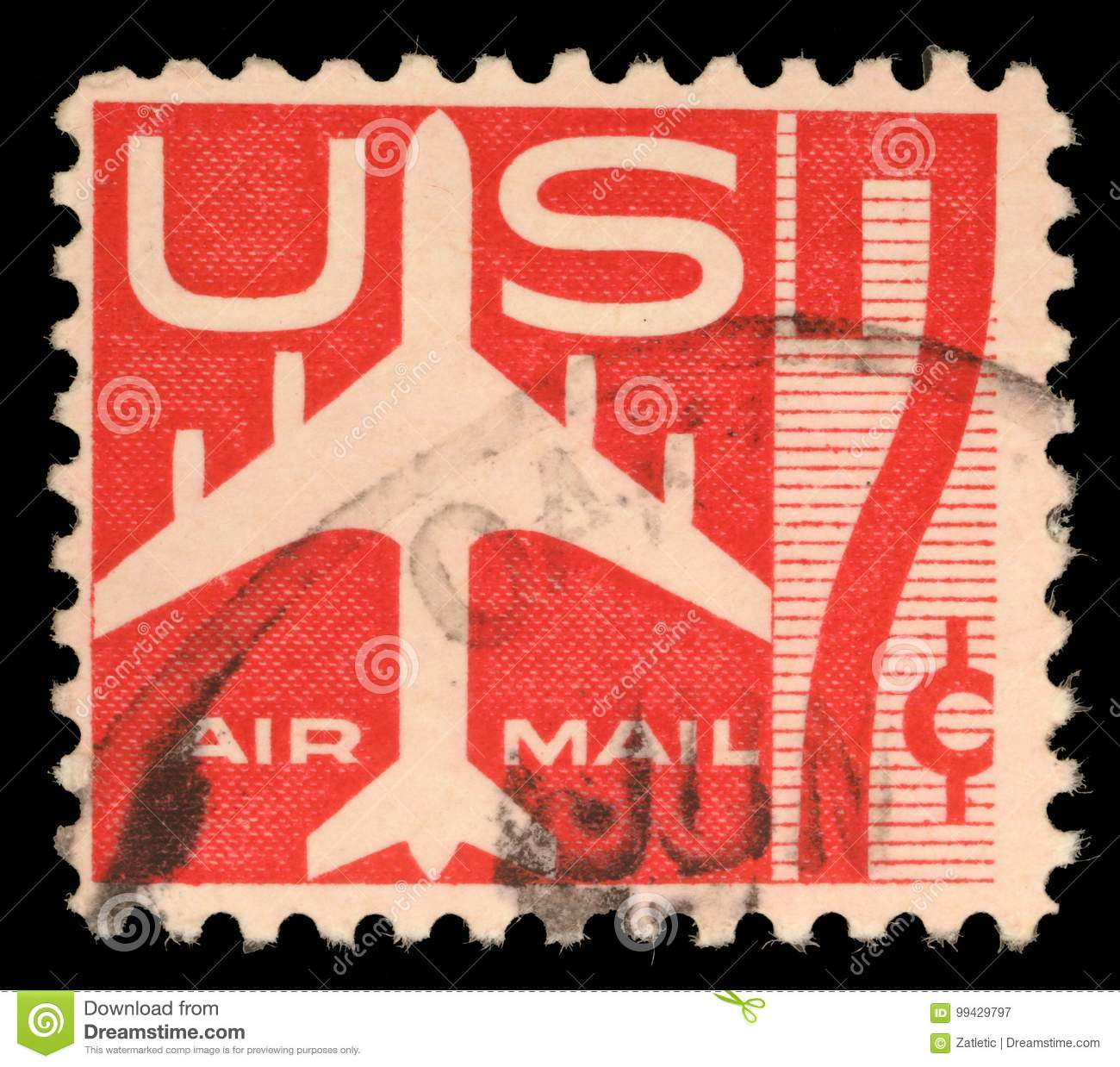 Stamp Printed In Us Showing Air Mail Symbols And The Print Air Mail