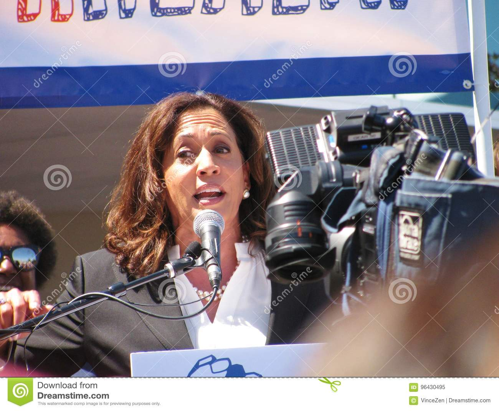 Sen. Kamala Harris, 2020 president candidate, speaks at LA area healthcare rally.