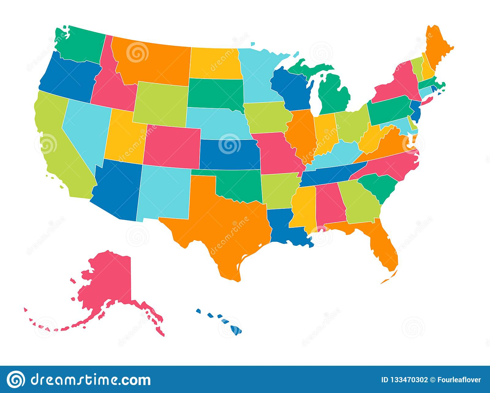 United States Simple Bright Colors Political Map Stock