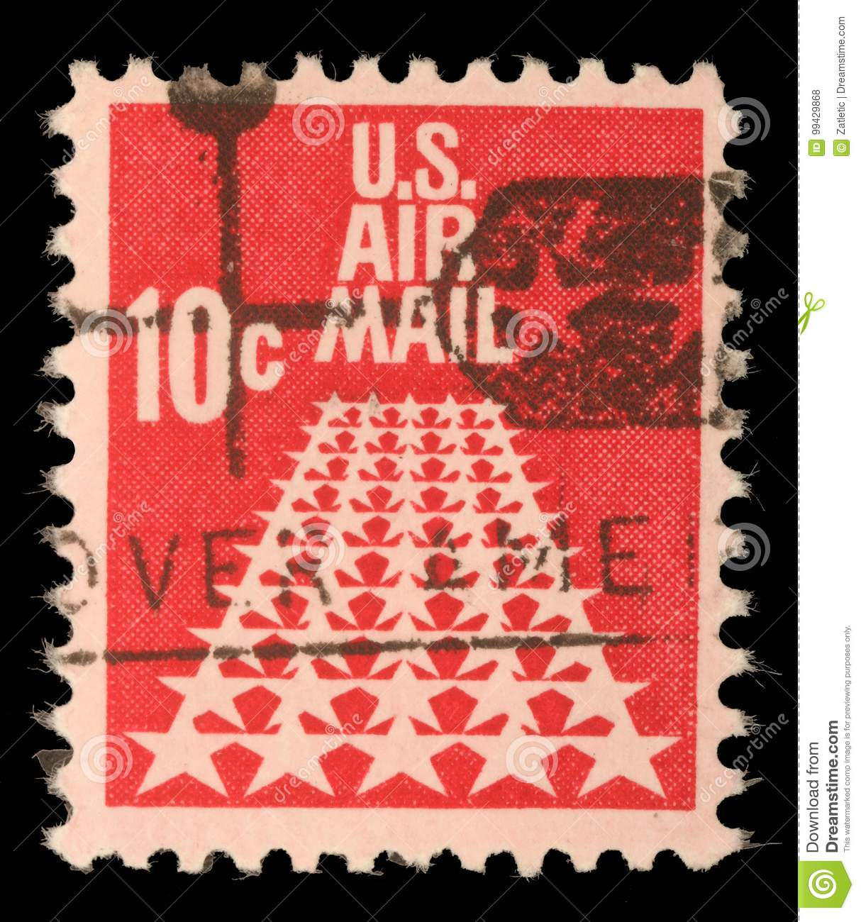 United States Postage Stamp In The Value Of 10c Used For Overseas Air Mail Deliveries Showing Symbols And Print US Circa 1968
