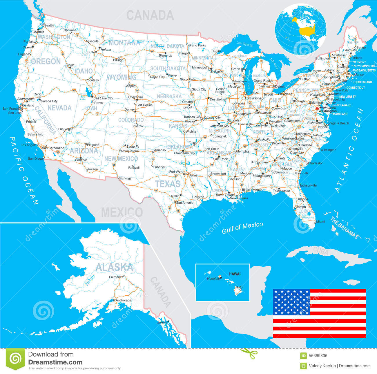 United States USA Map Flag Navigation Labels Roads - Us map with labels