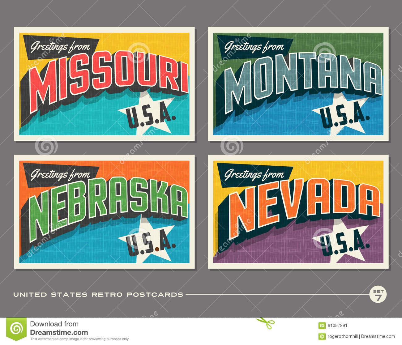 United States Vintage Typography Postcards Stock Vector - Image ...