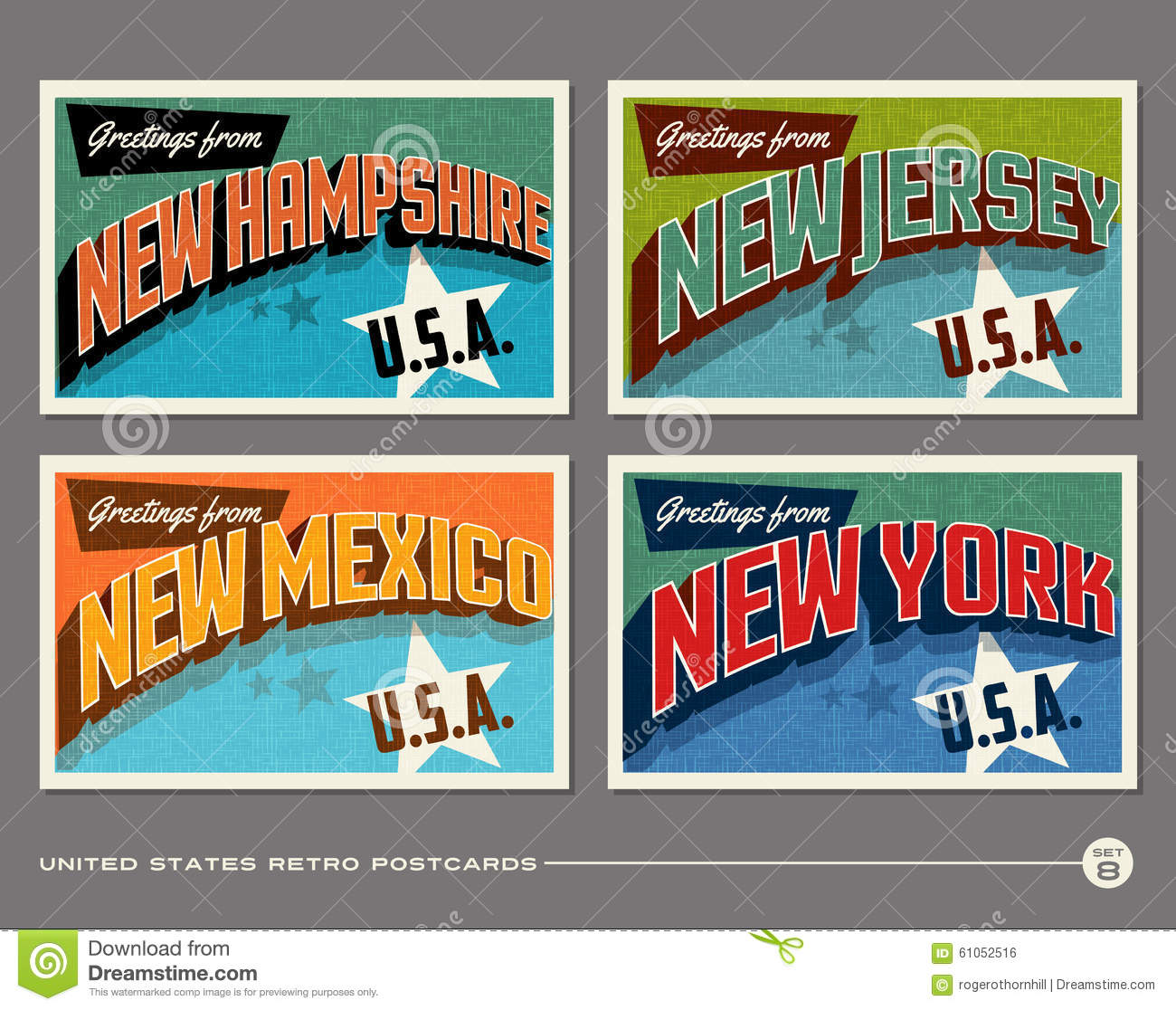 United States Vintage Typography Postcards Stock Vector