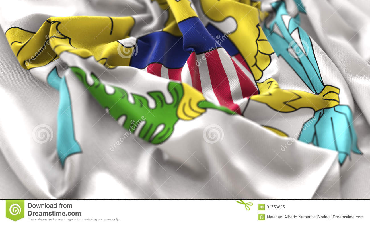 United States Virgin Islands Flag Ruffled Beautifully Waving Mac