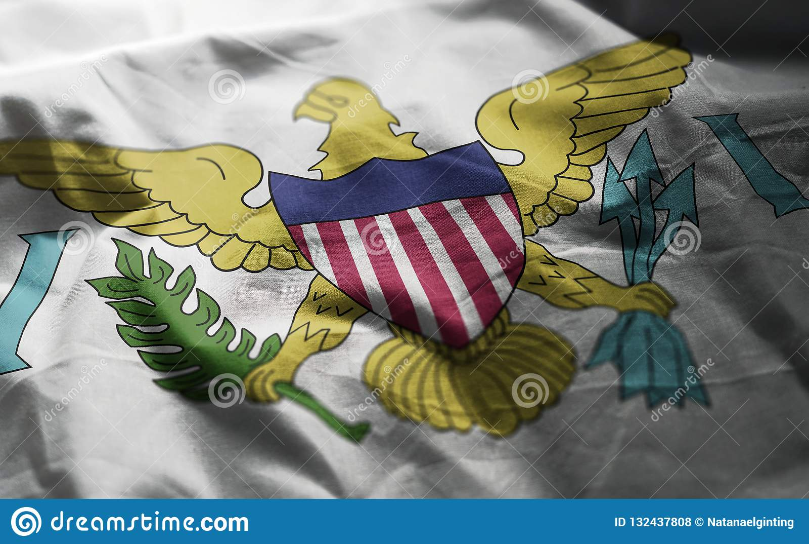 United- States Virgin Islandsflagge zerzauste nahes oben