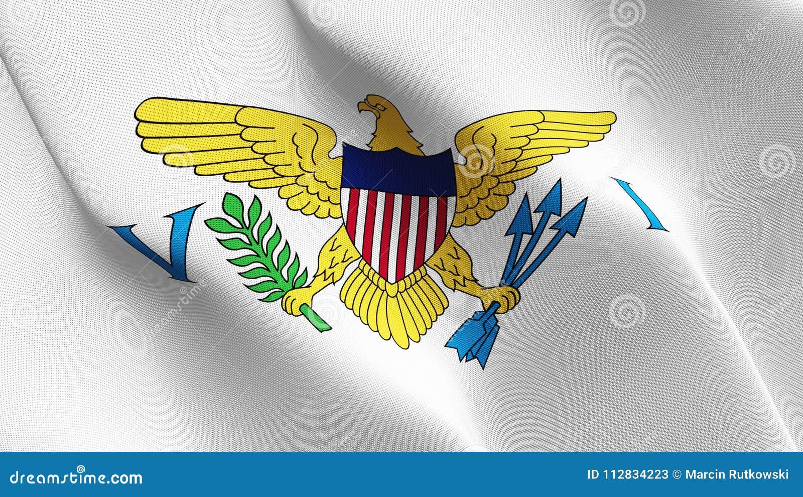 United- States Virgin Islandsus-staat fahnenschwenkend auf Wind