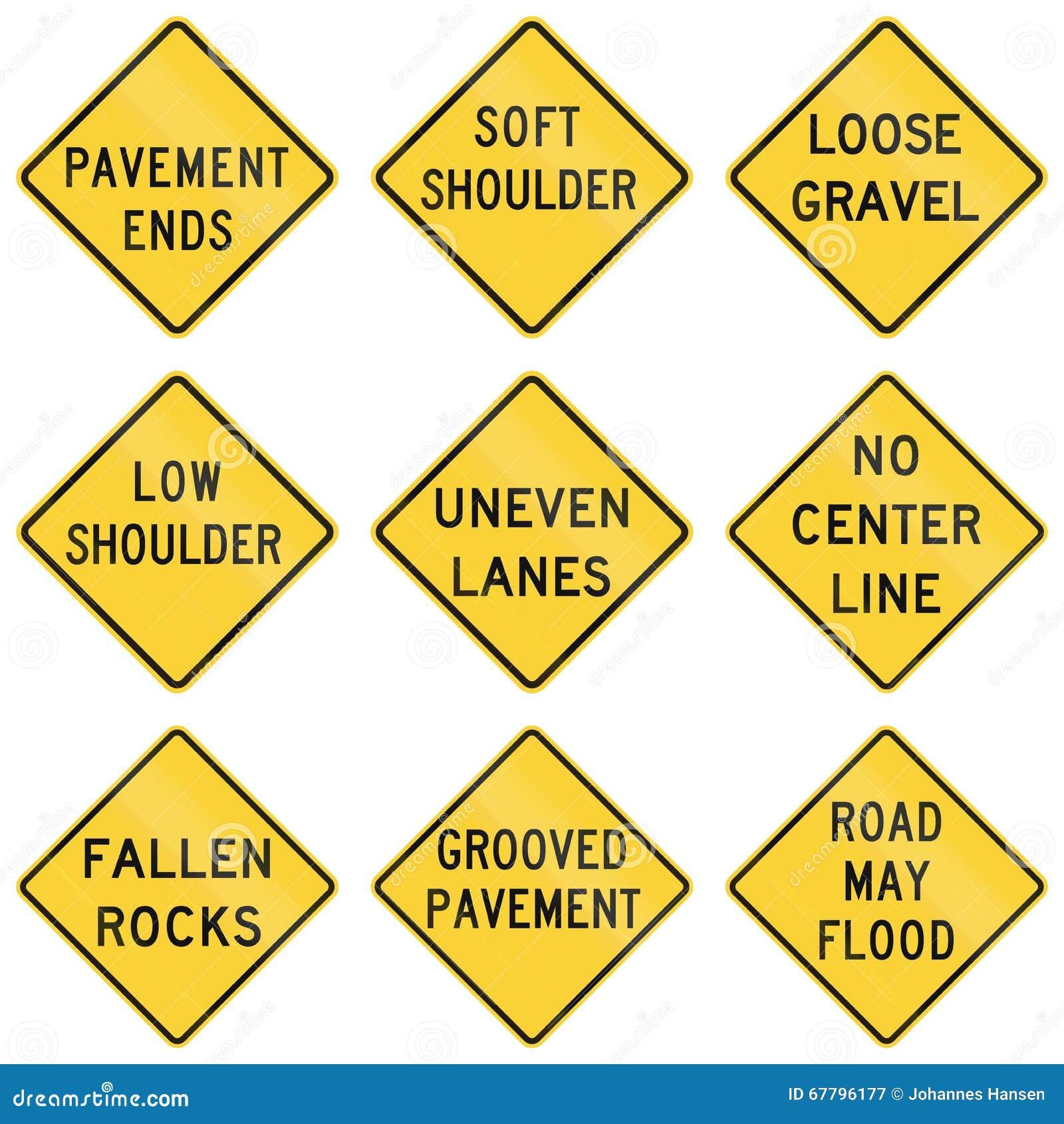United States warning MUTCD road signs