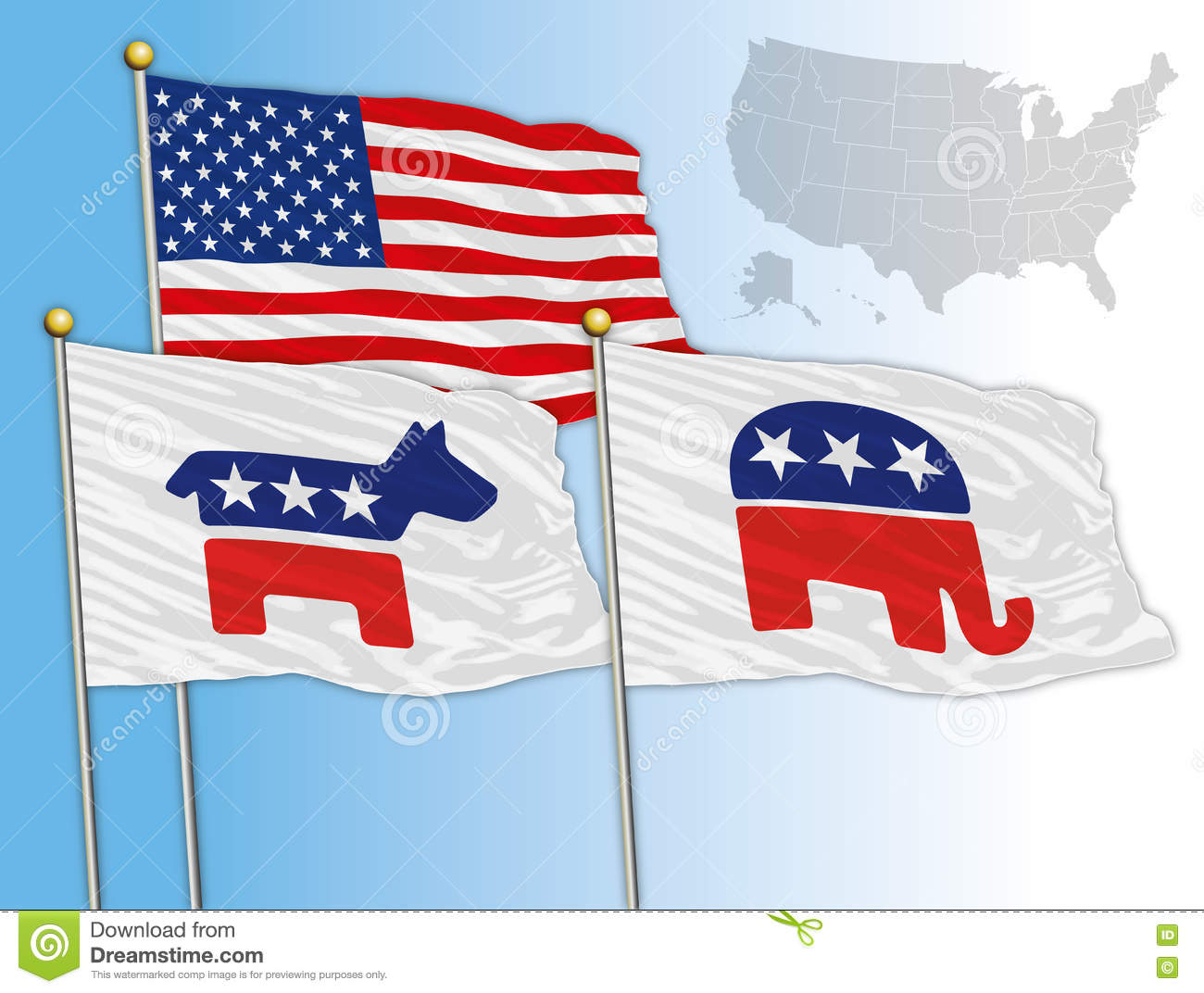 UNITED STATES - YEAR 2016 - Flags With Symbols Of The Democratic And ...
