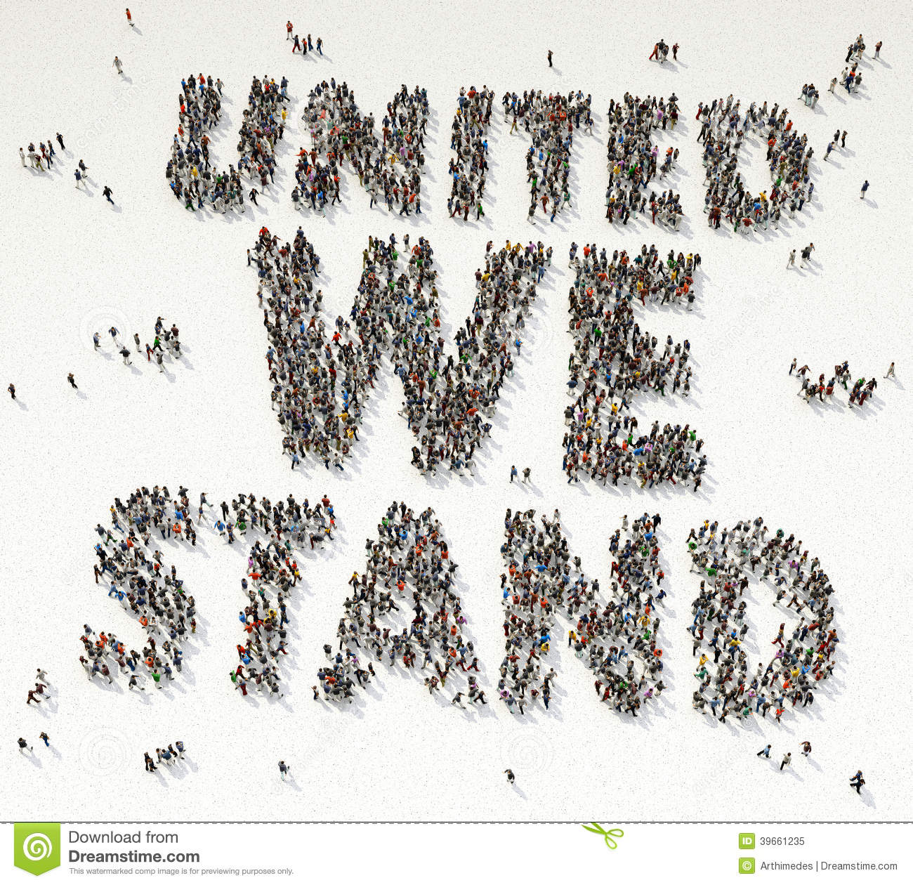 UNITED WE STAY Text Written Out Of People
