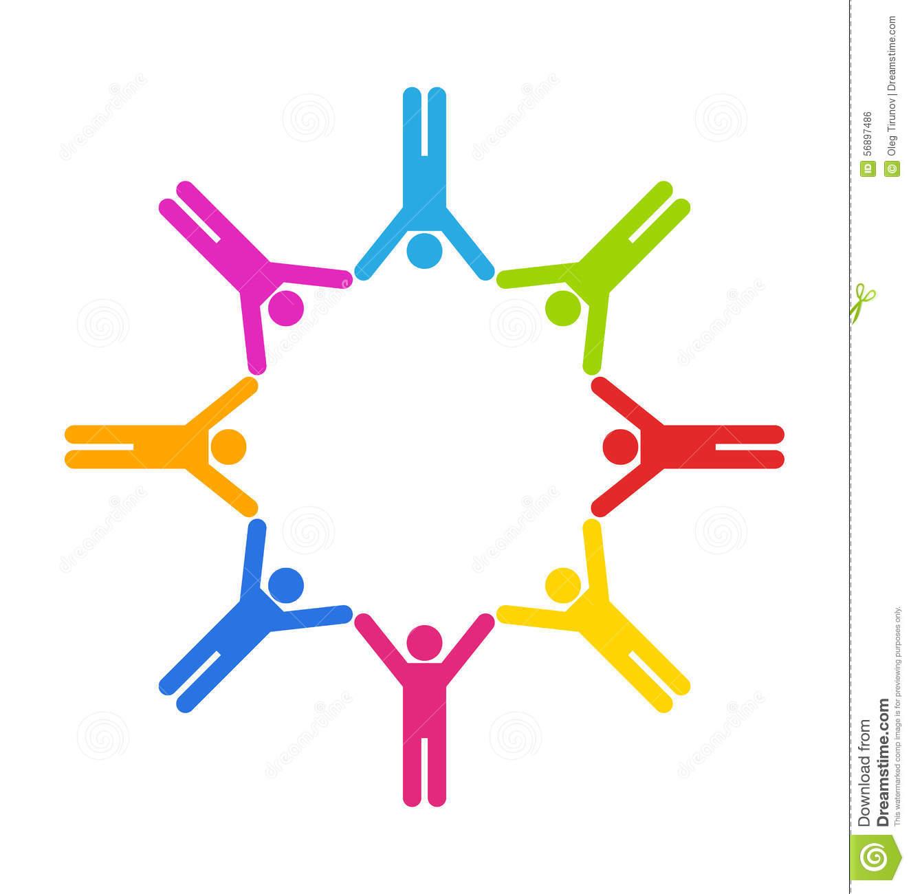 Teamwork Colorful People Working Together Logo Royalty ...