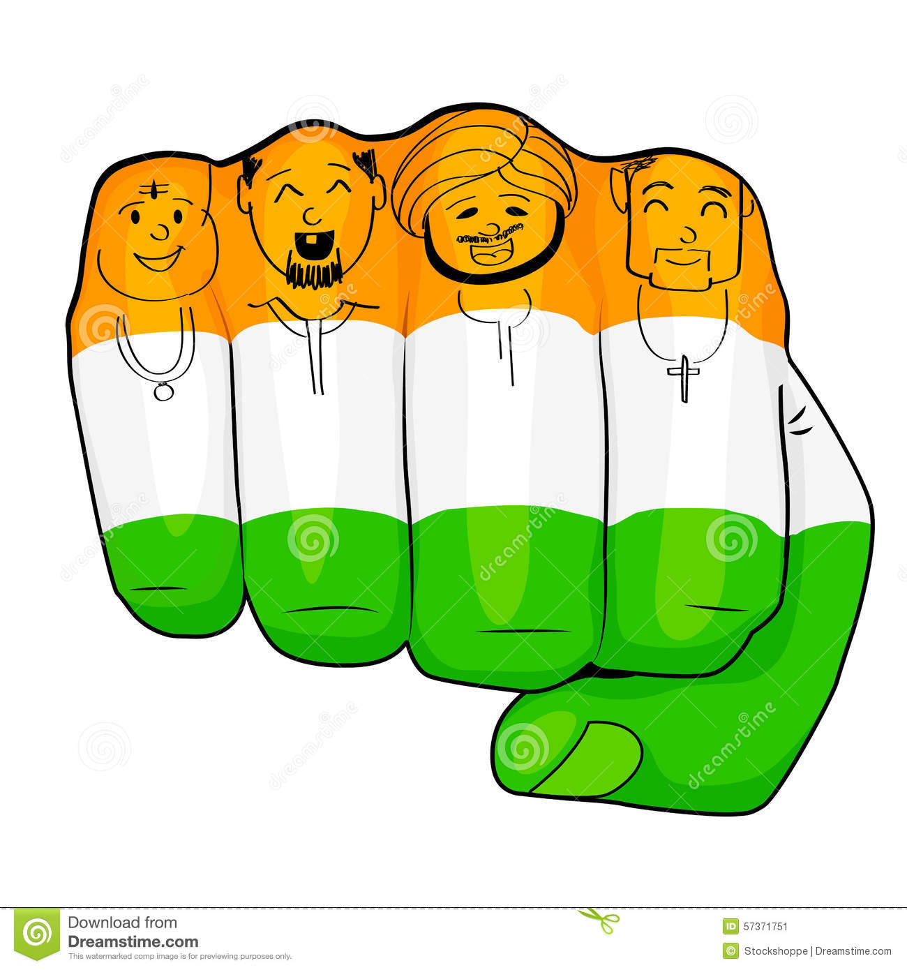 Vector illustration of Indian people of different culture standing ...