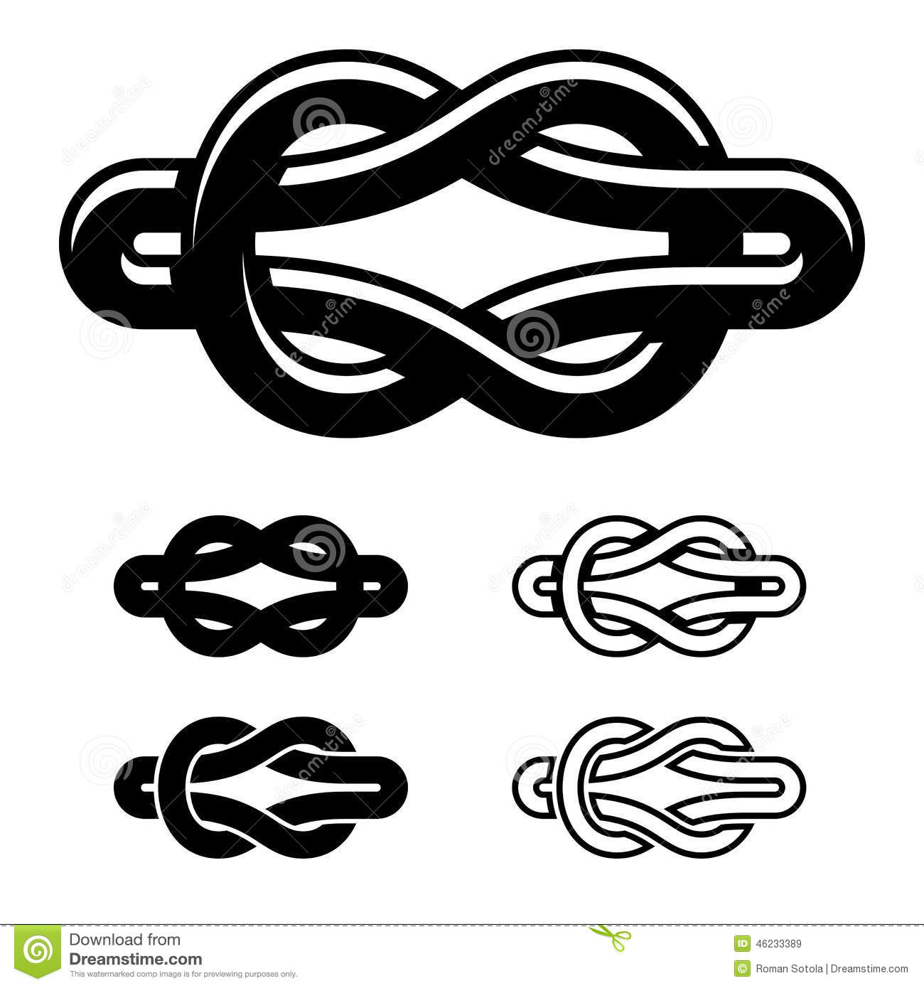 Unity Knot Black White Symbols Stock Vector Illustration Of Design