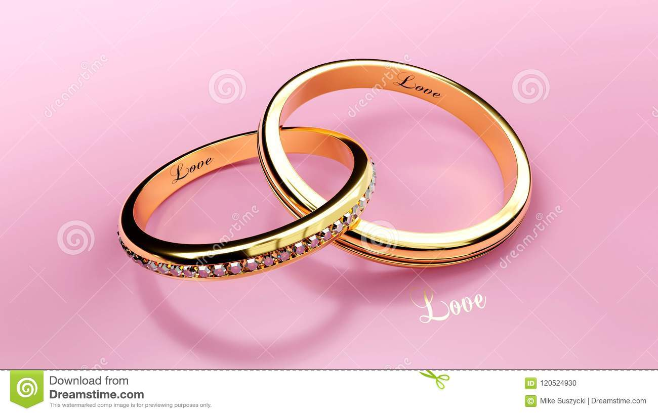 Golden Connected Wedding Rings With Inscribed Love Word That ...