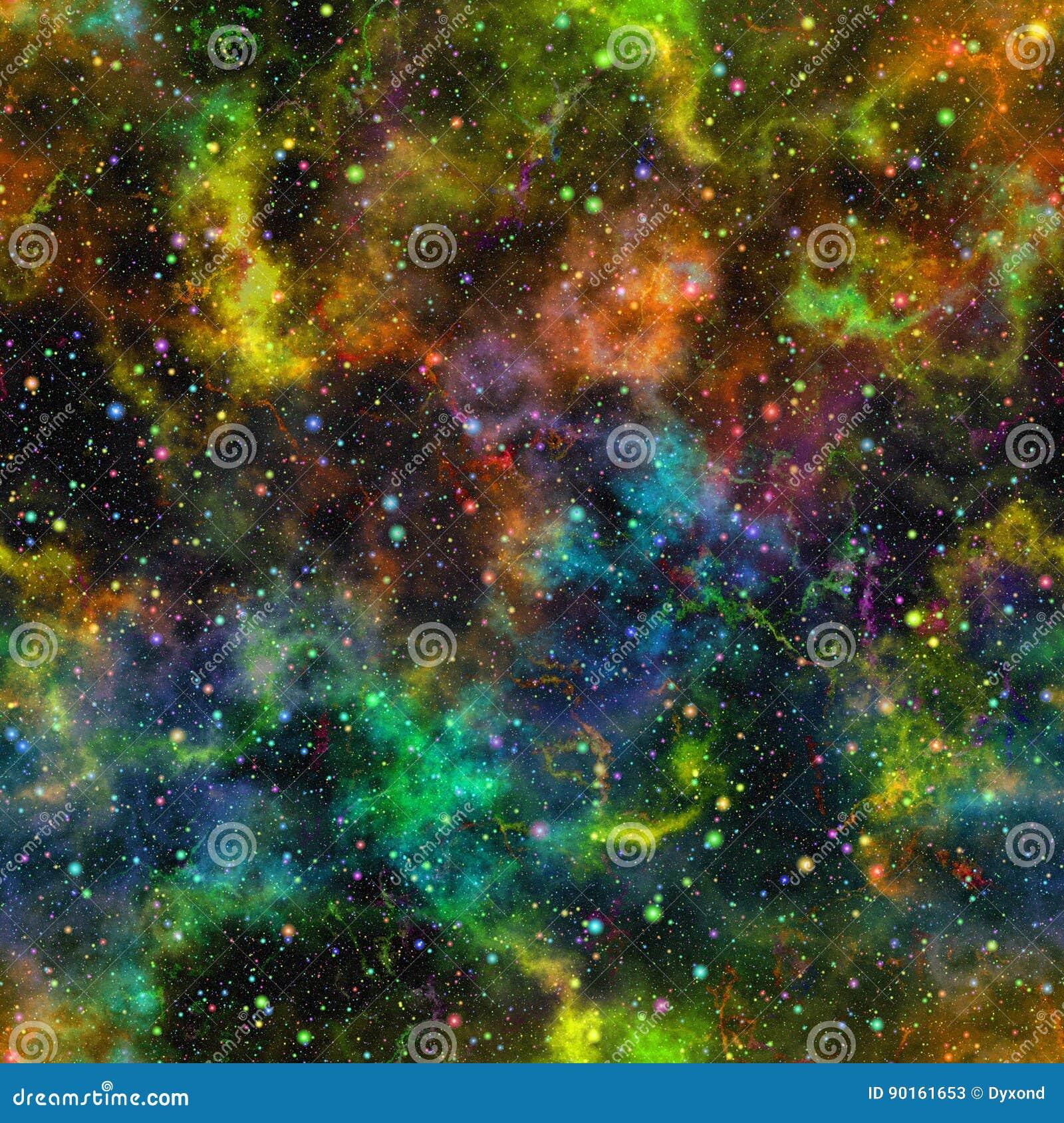 Univers coloré abstrait, ciel étoilé de nuit multicolore de nébuleuse, espace extra-atmosphérique brillant, fond galactique sans
