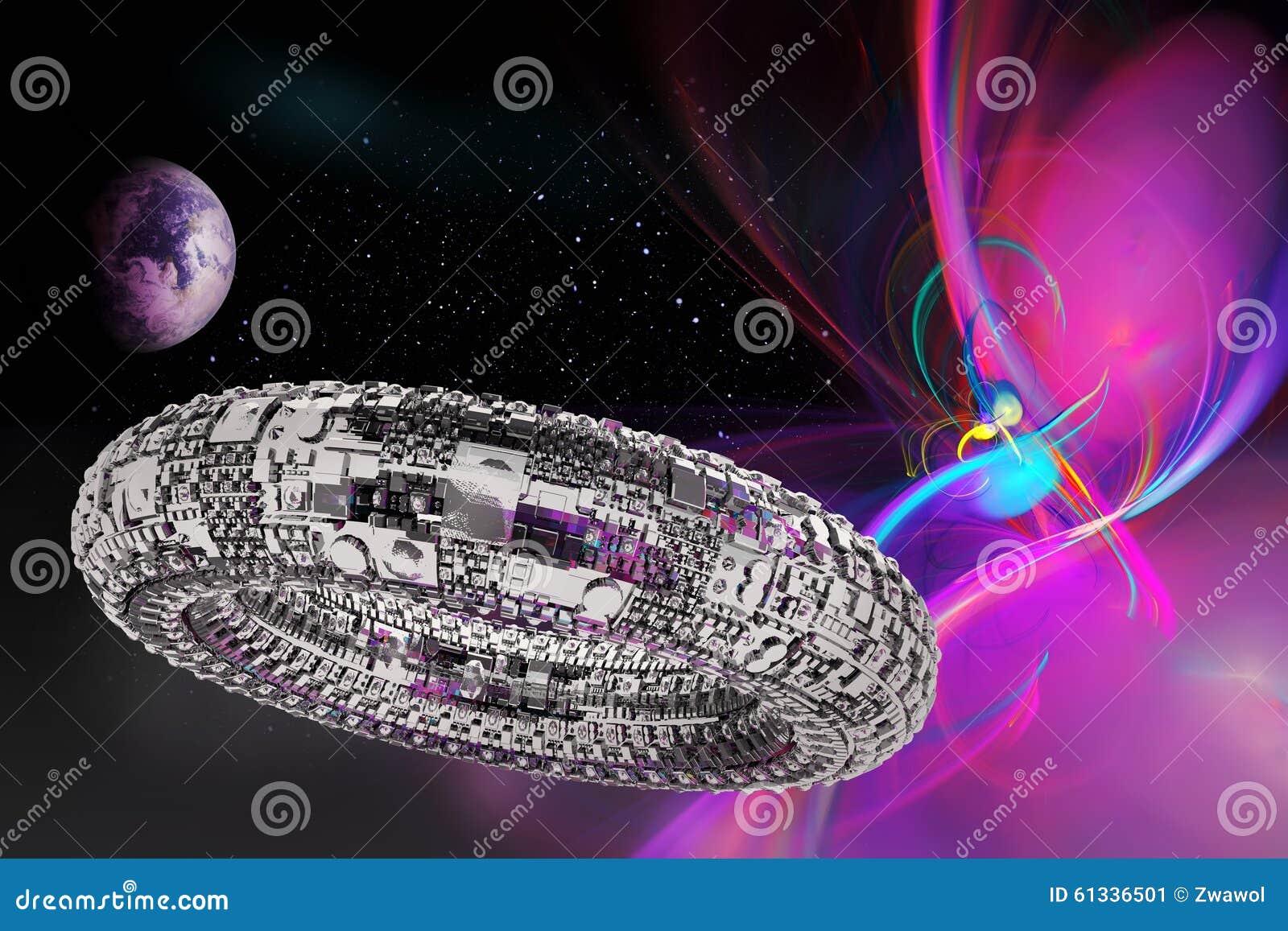 Univers fictif avec le vaisseau spatial