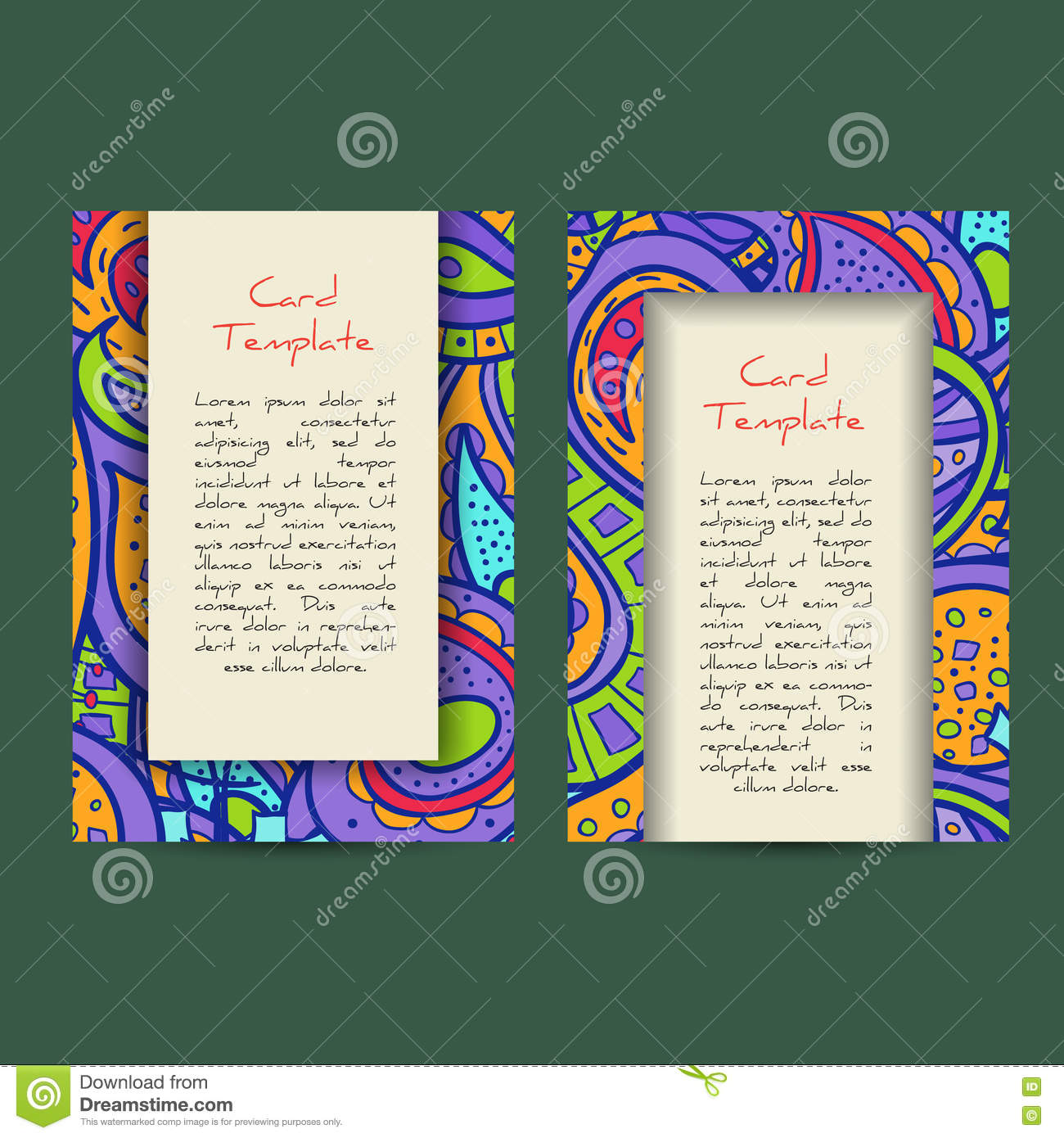 Universal Boho Paisley Greeting Card Templates Stock Vector