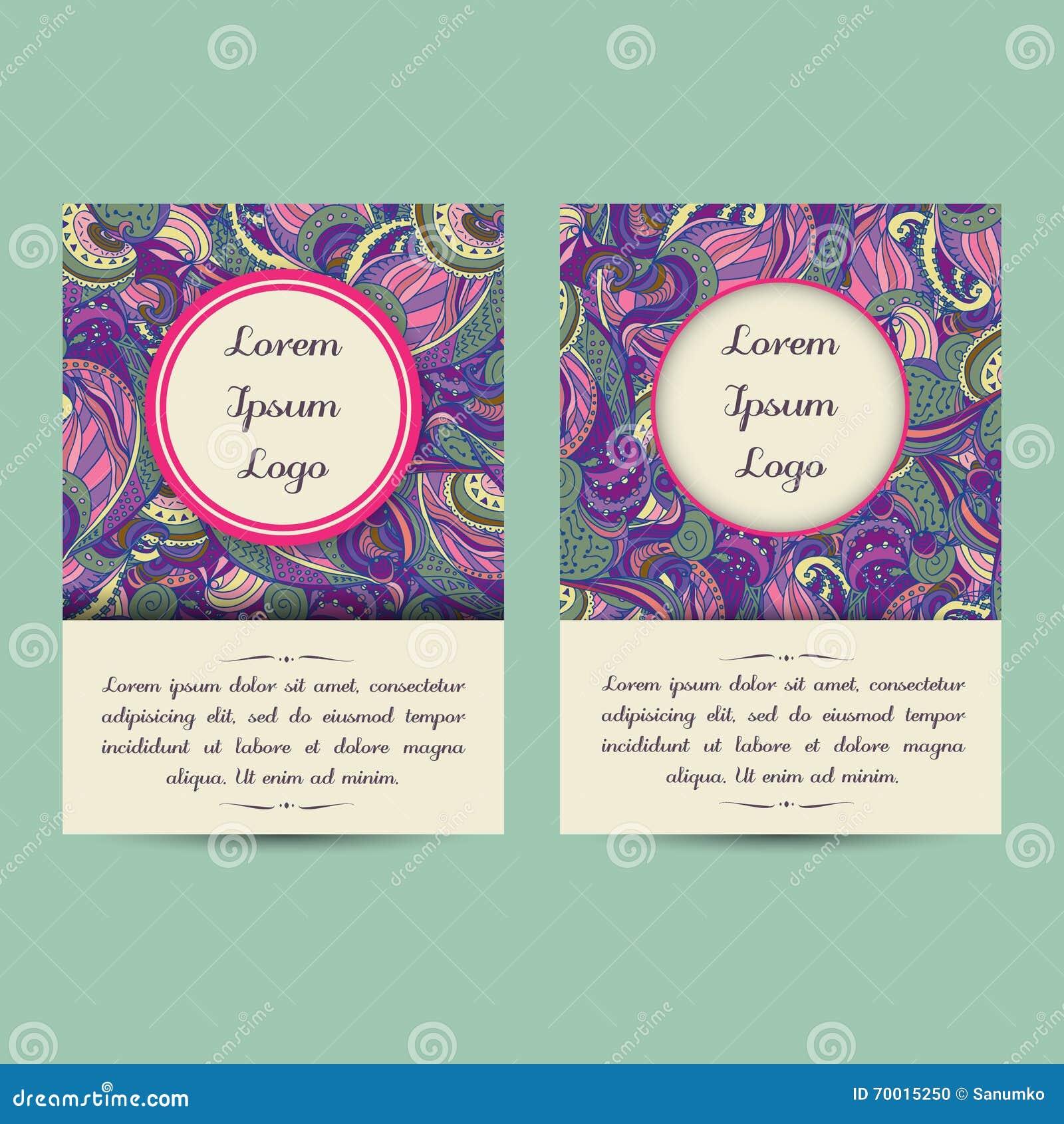 Elegant Bookcover Design: Universal Boho Paisley Greeting Card Templates Stock
