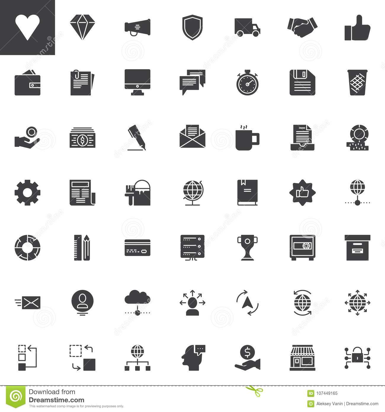 Universal business vector icons set
