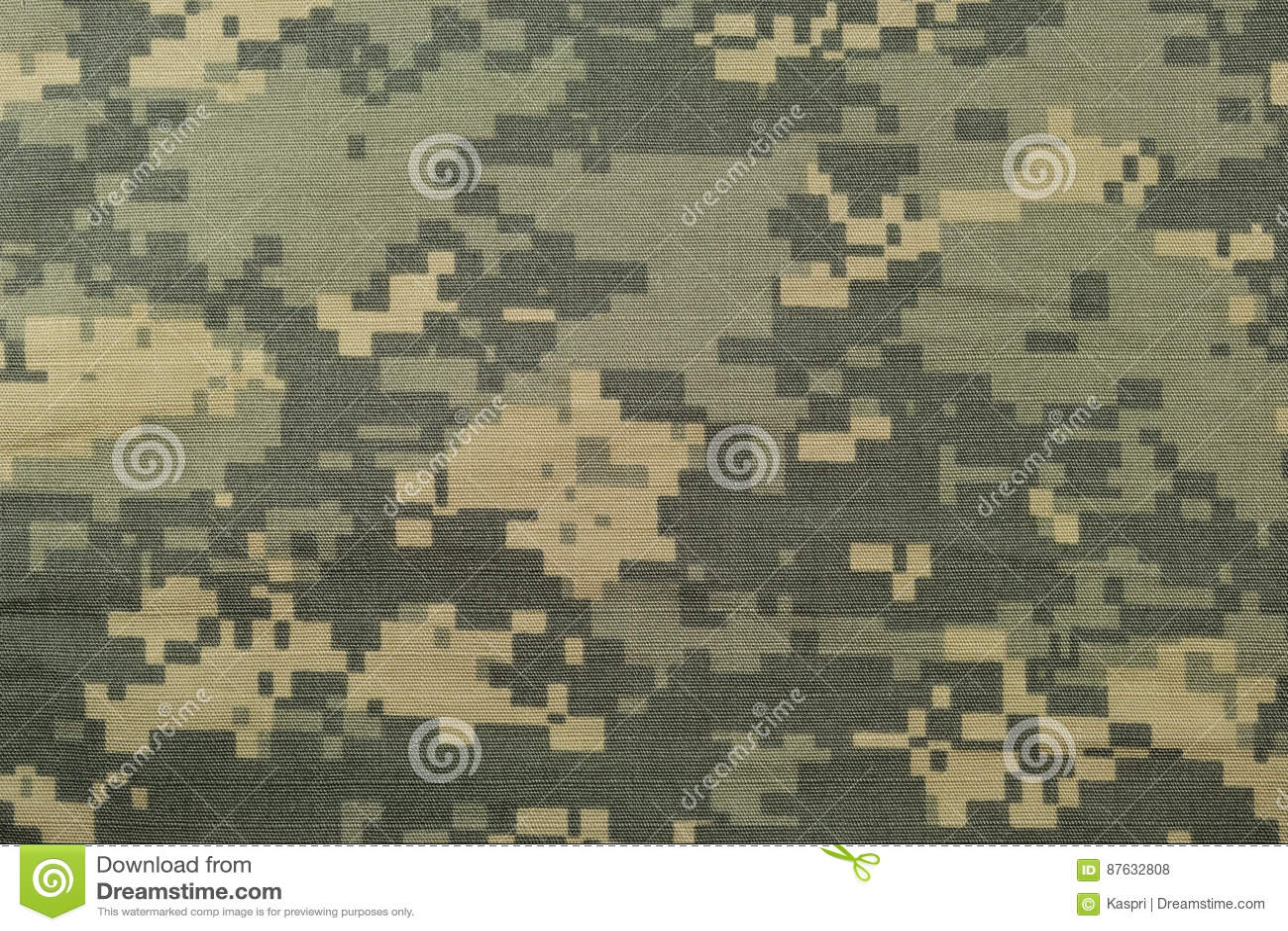 Universal camouflage pattern, army combat uniform digital camo, USA military ACU macro closeup, detailed large rip-stop fabric