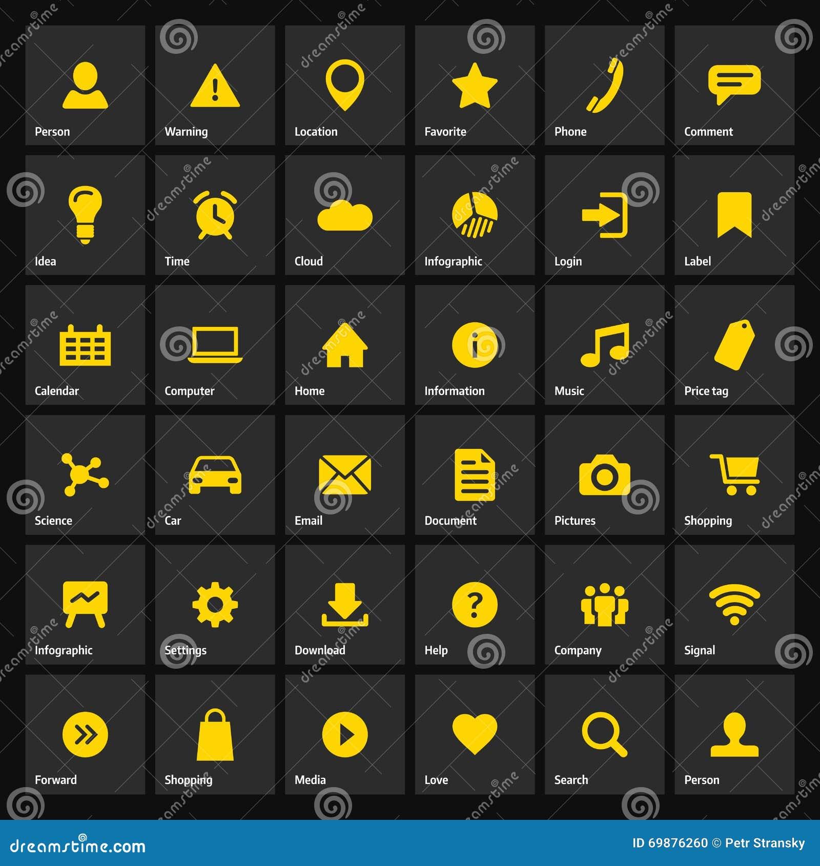 Universal flat yellow web icons set on gray stock vector image universal flat yellow web icons set on gray biocorpaavc