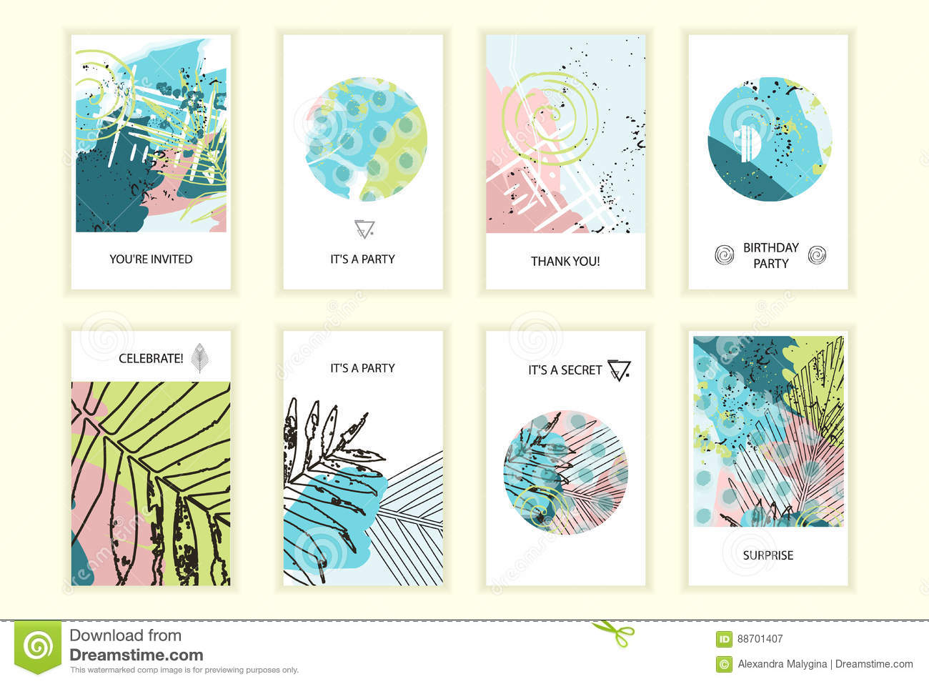 Universal floral posters set stock vector illustration of design.