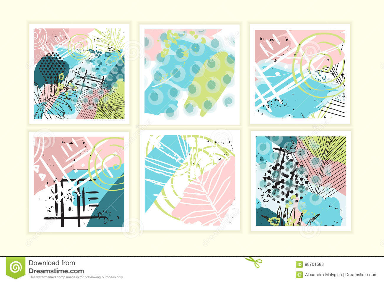 Universal floral cards set. Creative hand drawn texturesin tropic.