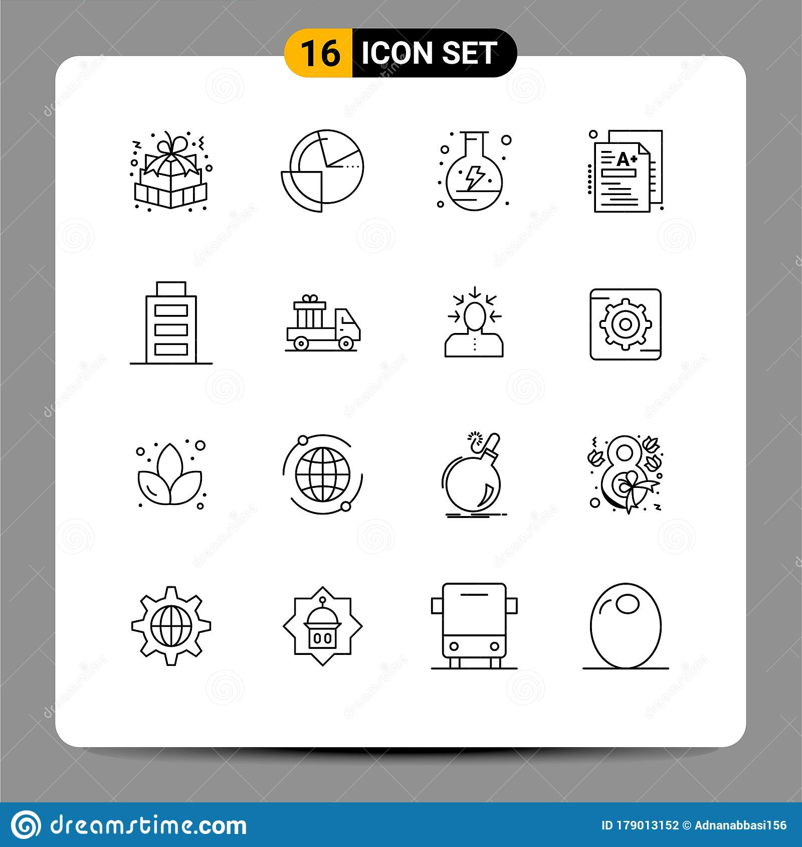 Universal Icon Symbols Group Of 16 Modern Outlines Of