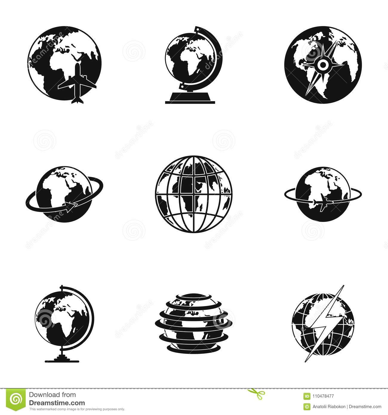 Universal icons set, simple style