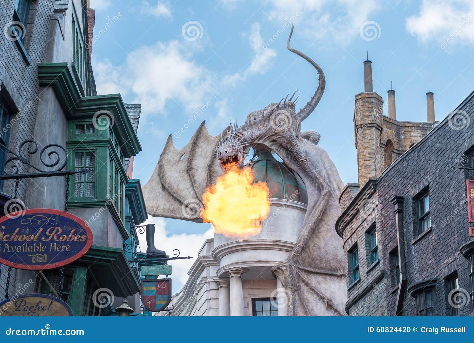 , USA - SEPTEMBER 02, 2015: Dragon on top of Gringotts bank breathing ...