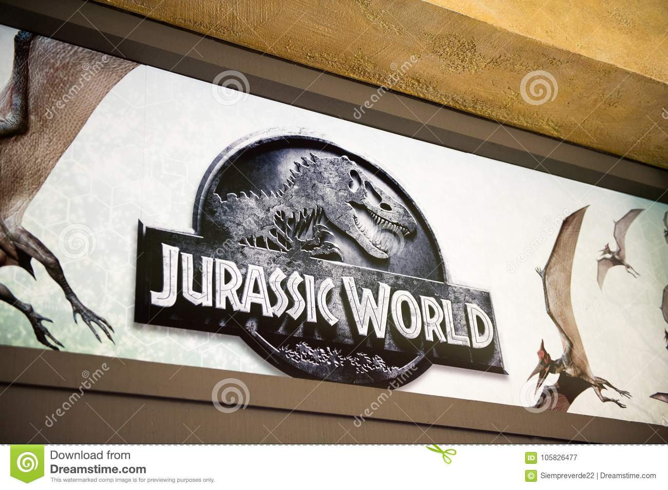 Los Angeles Usa Sep 27 2015 Jurassic World Logo In Jurassic Park Area In The Universal Studios Hollywood Park Jurassic Park Is A 1993 American