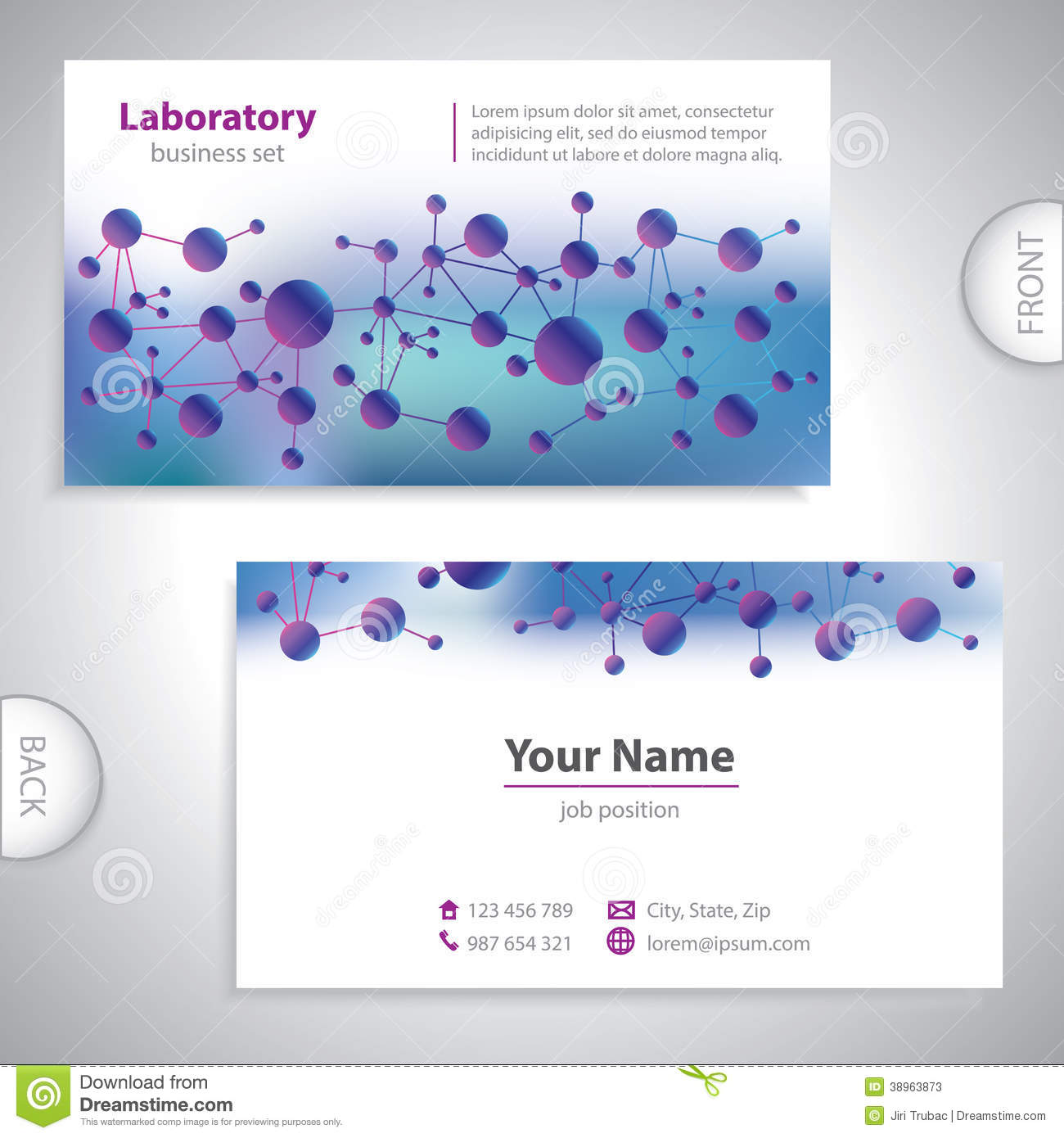 Universal Violet Blue Medical Business Card Stock Vector