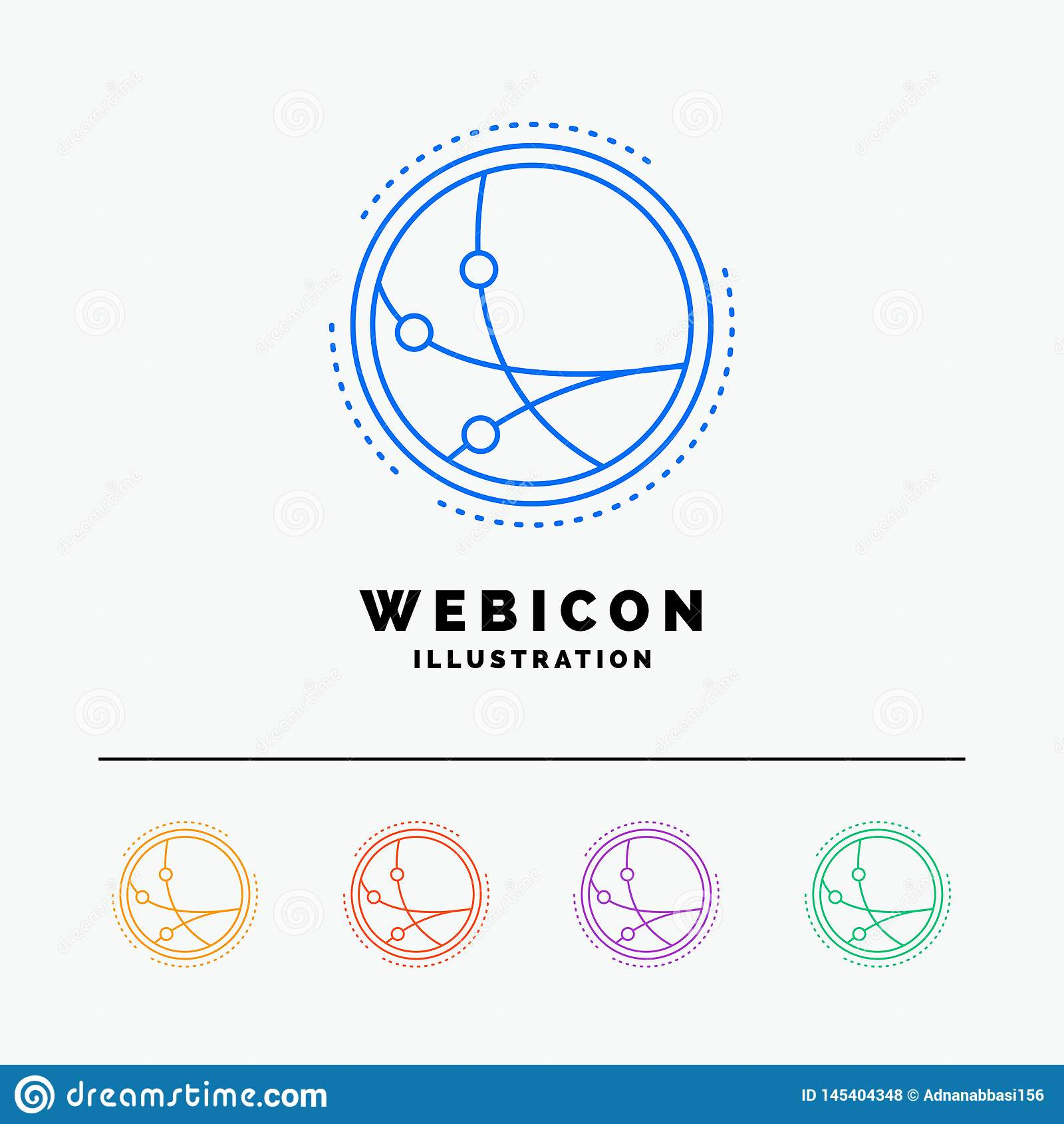 Universalmente, comunicazione, collegamento, Internet, linea di colore della rete 5 modello dell icona di web isolato su bianco I