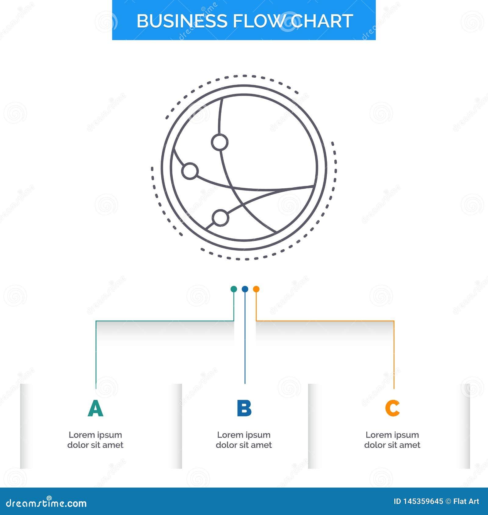 Universalmente, comunicazione, collegamento, Internet, progettazione del diagramma di flusso di affari della rete con 3 punti r