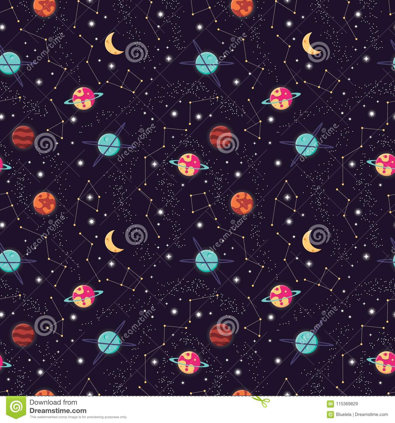 Universe with planets and stars seamless pattern, cosmos starry night sky