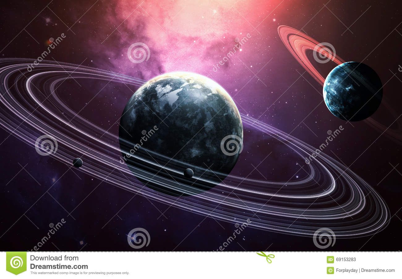Universe scene with planets stars and galaxies in outer for Outer space scene