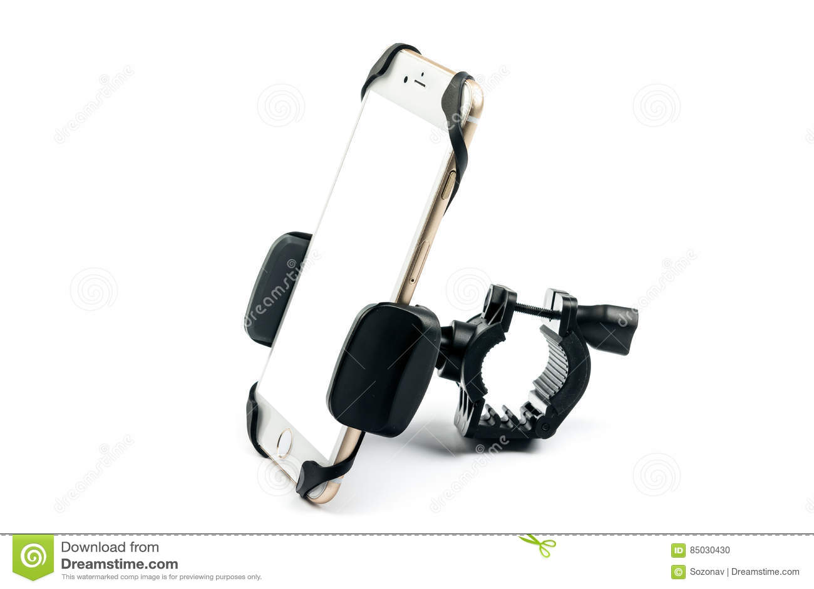 Universele telefoonhouder voor automotor en fiets met geïnstalleerde lege het scherm gouden smartphone Geïsoleerdj op witte achte
