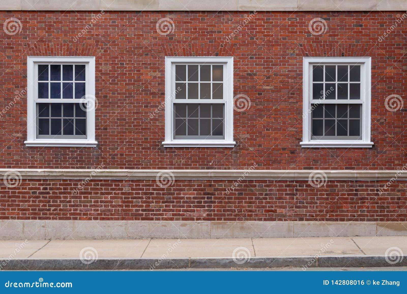 Universiteitsvensters op bakstenen muur