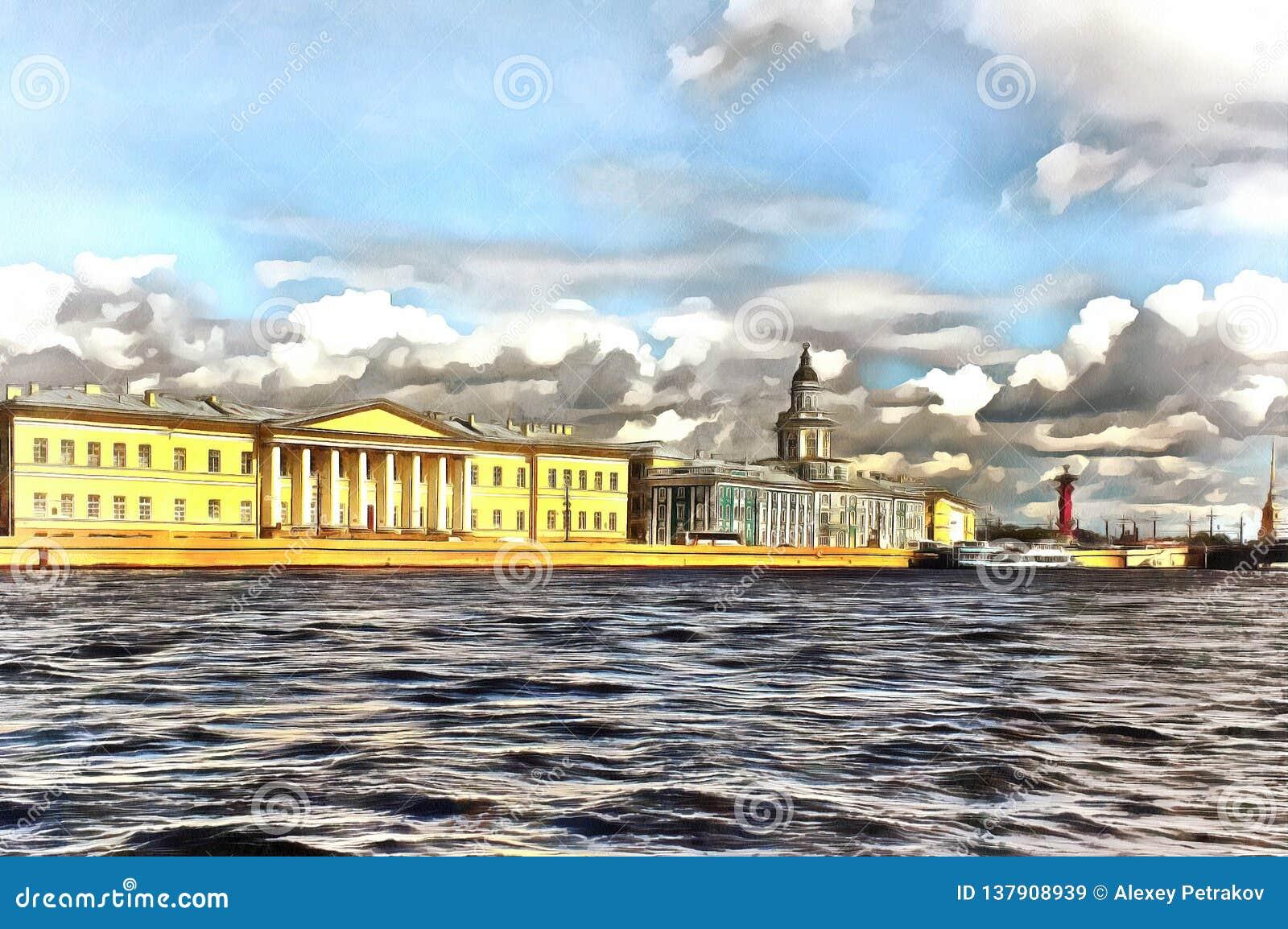 Universitetskaya堤防看法在圣彼德堡