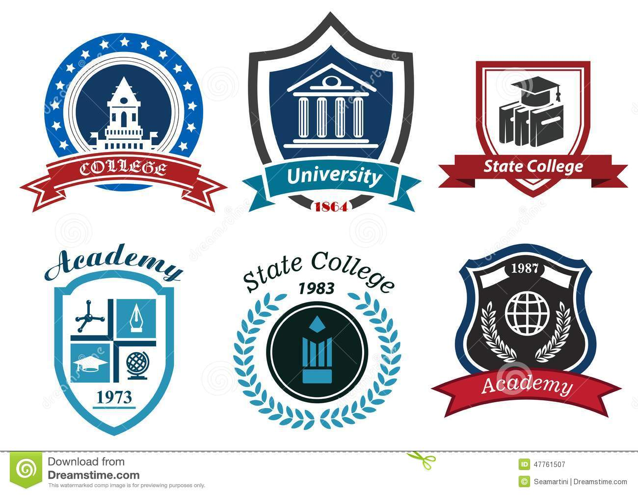 university college and academy heraldic emblems stock