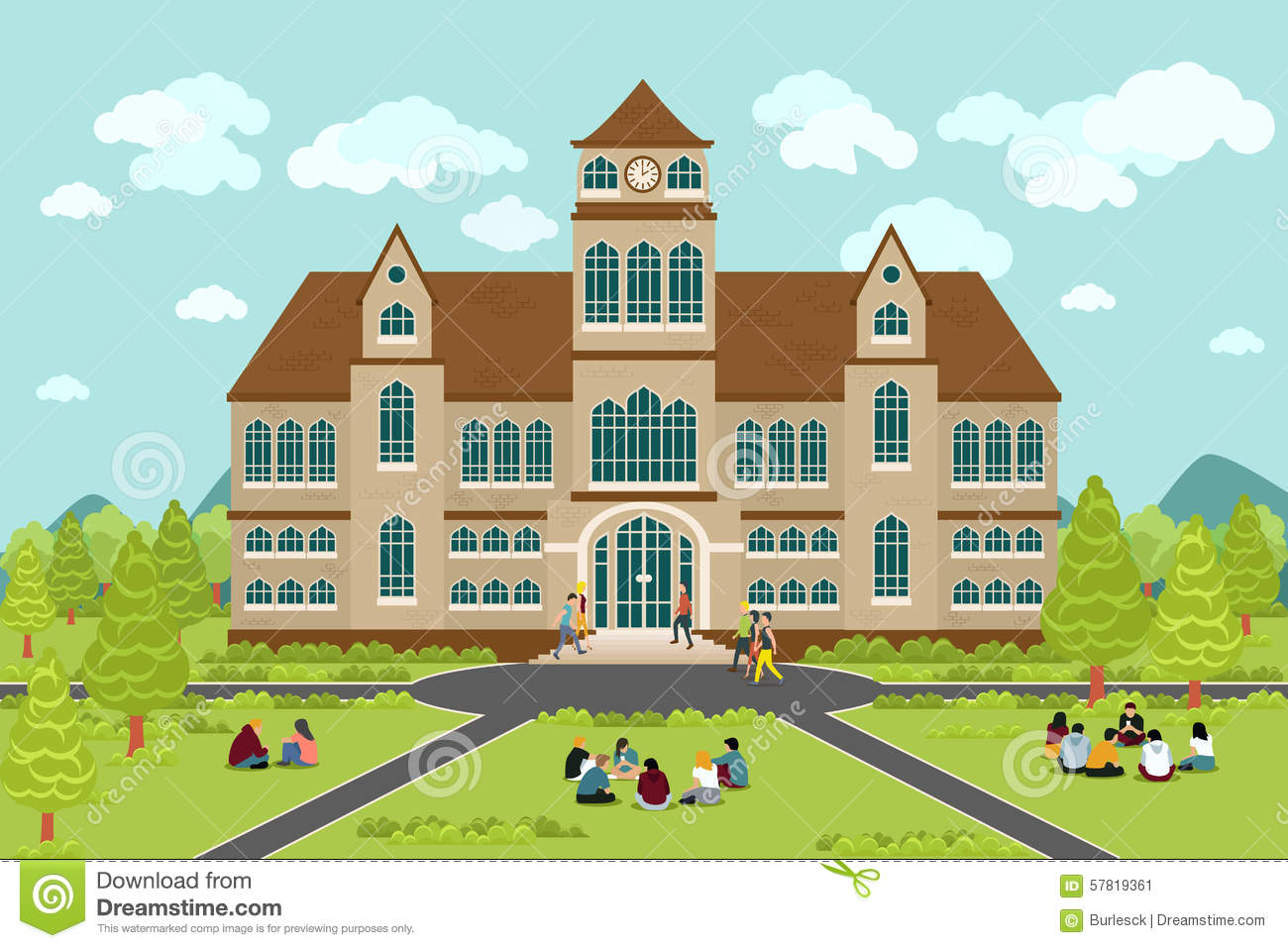 University or college building. Education student, flat campus design ...