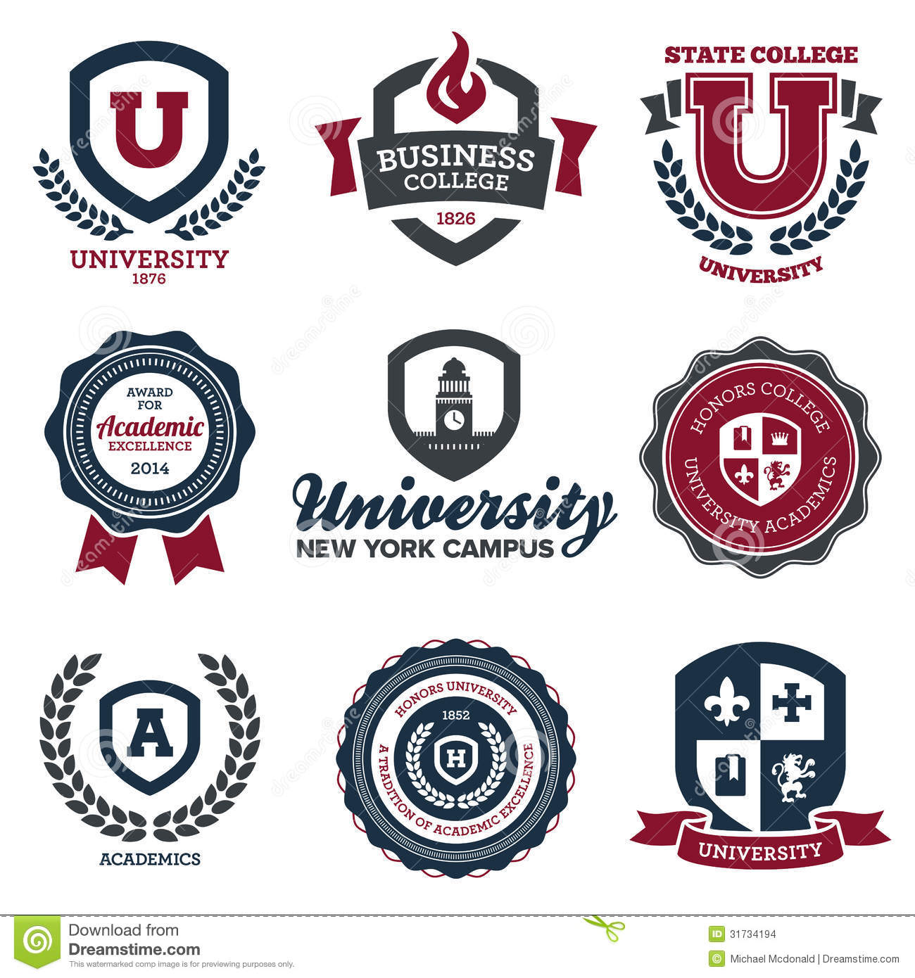 university and college crests stock images image 31734194