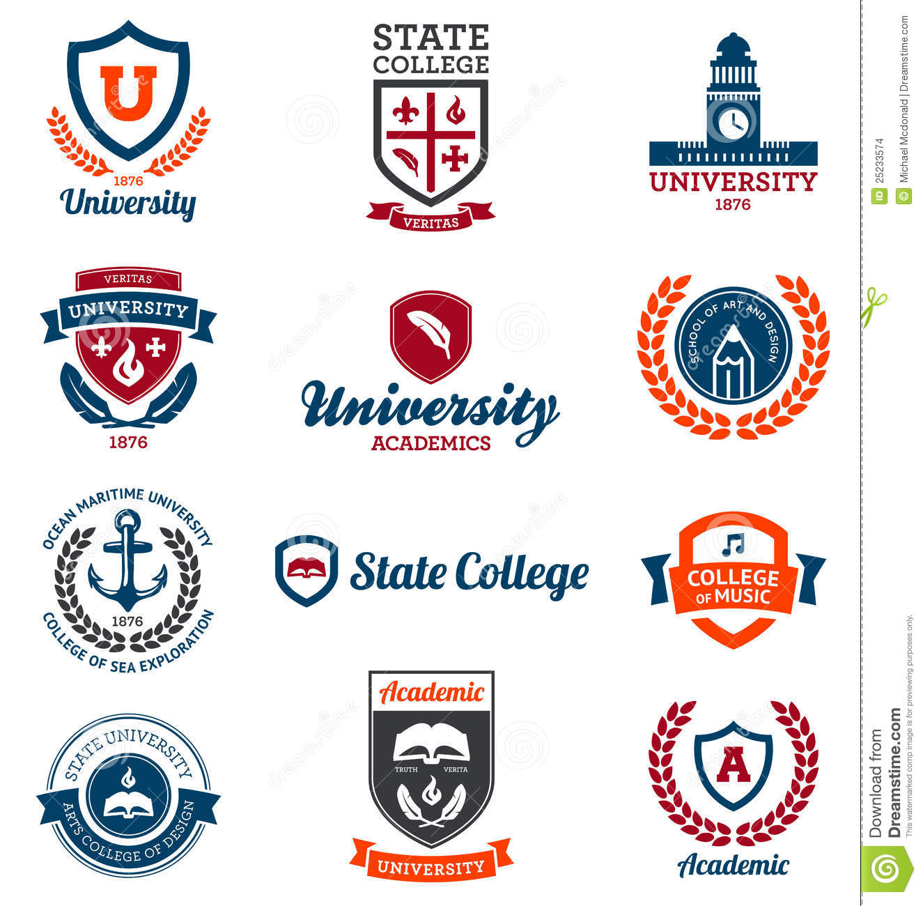 university and college emblems stock vector illustration