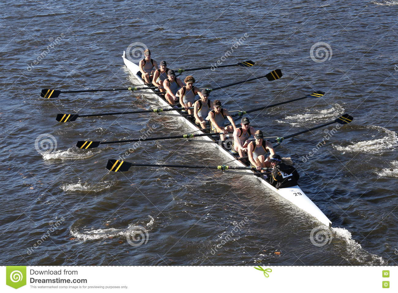 University of Colorado Boulder races in the Head of Charles Regatta Men`s College Eights