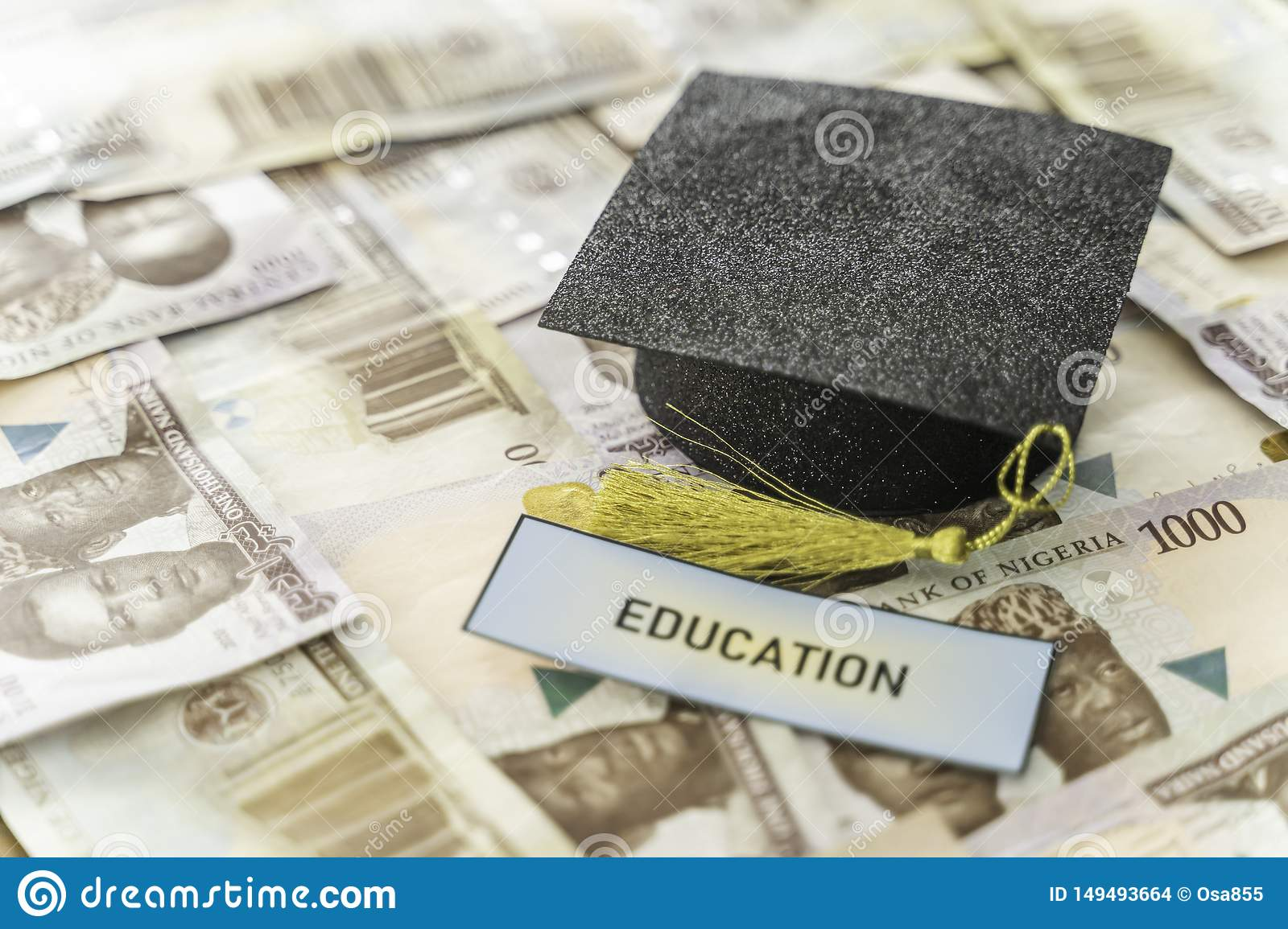 University Mortarboard academic cap on Nigerian Naira notes